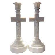 Boston & Sandwich Glass Pair of Opal Crucifix Candlesticks