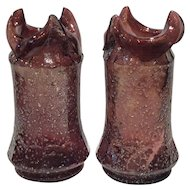 Dugan Amethyst Art Glass Vases (Pair) with Irridescent Glass Frit