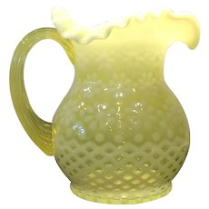 Fenton for L.G. Wright - Yellow Opalescent Snowflake Pattern 32 Ounce Handled Jug