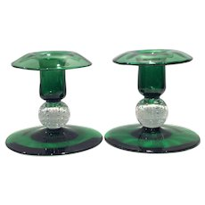 Pairpoint Emerald Green Candlesticks (2) with Bubble Ball Stem