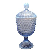 Duncan Miller Blue Opalescent Hobnail One Pound Footed Covered Candy