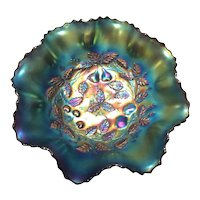 Northwood Amethyst Carnival Glass 3 Fruits Medallion Spatula Footed Bowl with Meander Pattern Exterior