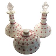 Fenton Charleton Decorated Red Geometric (2) Milk Glass Bottles and (1) Covered Candy