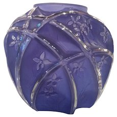 Consolidated Glass Line 700 Martele 7 Inch Reuben Blue Vase