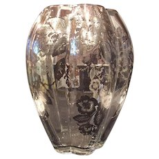 Fostoria # 2408 Lobed Vase with Sterling Floral Overlay