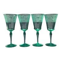 Lotus Green La Furiste Set of 4 Goblets
