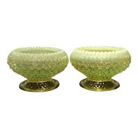 Fenton Topaz Opalescent Hobnail Pair of Candleholders