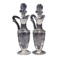 Heisey Crystal Rose Etched Waverly Cruet