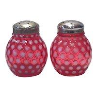 Fenton Cranberry Opalescent Polka Dot Pattern Round Ball-Shaped Salt & Pepper Set