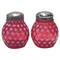 Fenton Cranberry Opalescent Polka Dot Pattern Round Ball-Shaped Salt & Pepper Set