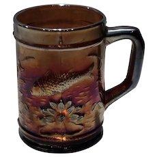 Dugan Diamond Amethyst Carnival Glass Fisherman's Mug - Souvenir Caldwell, TX