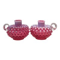 Fenton Cranberry Opalescent Hobnail #3870 Pair of Candleholders