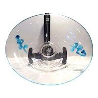 "Steuben Footed Crystal 12"" Bowl with Celeste Blue Mat-su-no-ke Ornament and Trim"