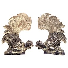 Heisey Glass Co. Pair of Crystal Fighting Roosters