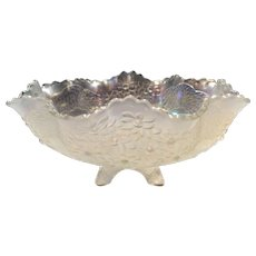 Fenton White Carnival (Persian Pearl) Orange Tree Master Berry Bowl