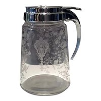 Cambridge Crystal Rose Point Pattern #1670 Sanitary Syrup