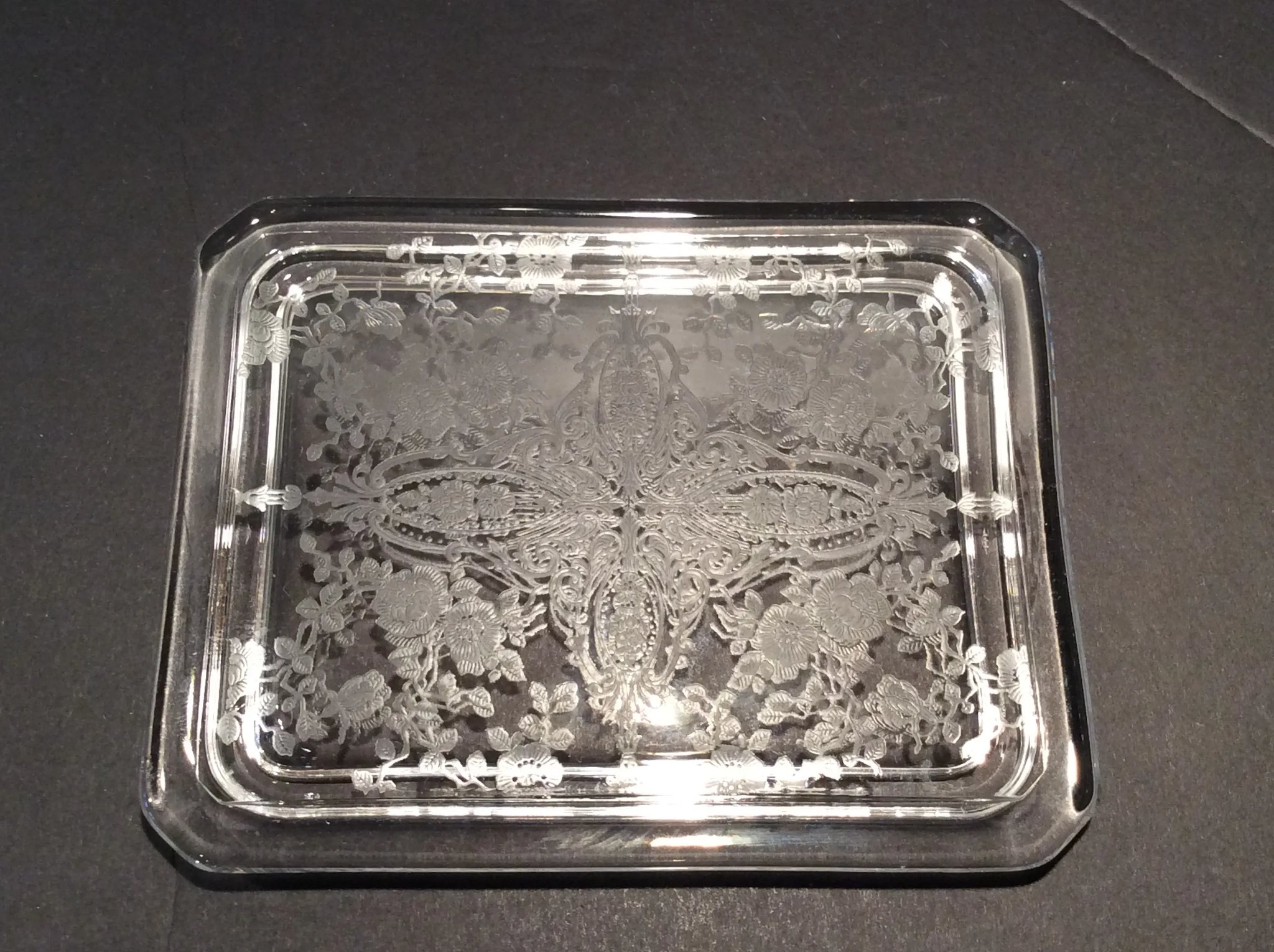 Cambridge Crystal Rose Point Etch on Pattern #615 Cigarette Box & Cover