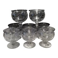 Cambridge Set of 8 Crystal Chantilly Etched 2 Piece Seafood Cocktail Icers