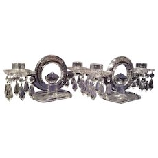 Heisey pattern No. 1488 Pair of 2-light Crystal Kohinoor Candelabra's with Hawkes Fern & Floral Cutting