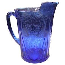 Hazel Atlas Cobalt Blue Royal Lace 48 ounce Straight Sided Pitcher