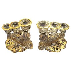 Cambridge Pattern #1338, Style 2(J) 3-lite Gold Rosepoint Etched Candleholders