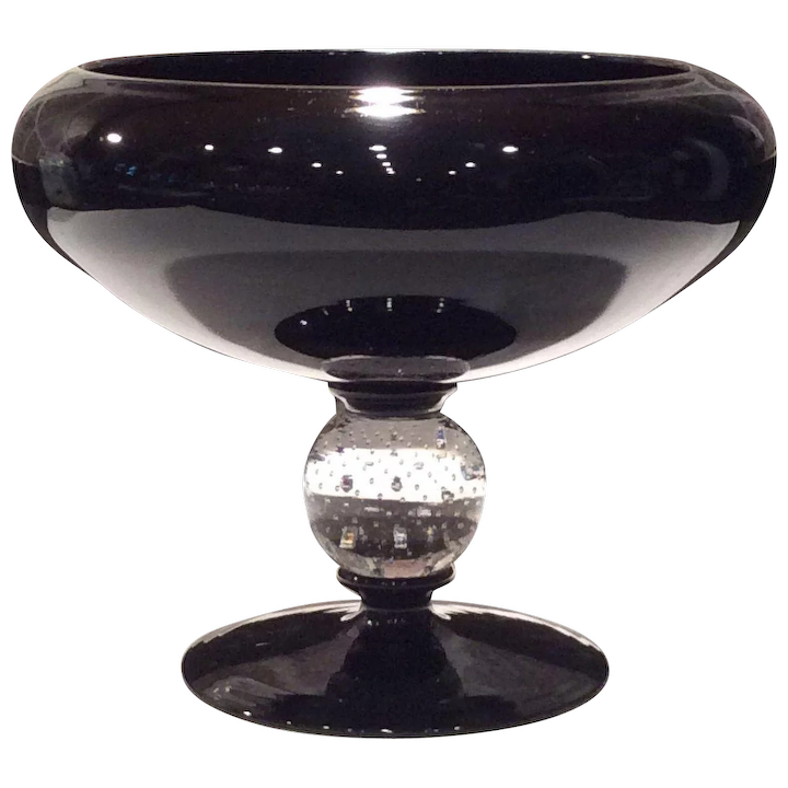 Pairpoint amythest glass compote with controlled bubble stem