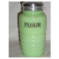 """Jeannette Glass Jadite """"Flour"""" Shaker"""