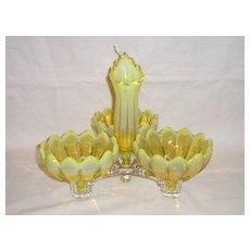 Fostoria Yellow Opalescent Heirloom Table Charm Set