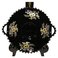 Imperial Candlewick Black 2-Handled Plate with Cosmos Decoration