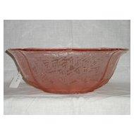 Fenton Rose Satin Ming etched # 750 octagonal bowl