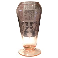 Tiffin Fontaine Rose Pink #151 Footed Cupped Dahlia Vase