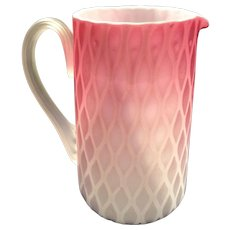 Phoenix Art Glass Air-Trap Tankard with Ruby Die-Away to Crystal over Opal and Diamond Optic