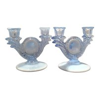 Duncan & Miller Blue Opalescent No. 30 - Two Light Candleholders