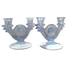 Duncan & Miller Blue Opalescent No. 30 - Two Light Candleholders