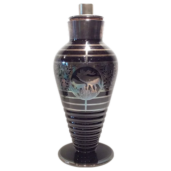 "Lotus Black (Ebony) Glass Cocktail Shaker with Sterling ""Call of the Wild"" Decoration"