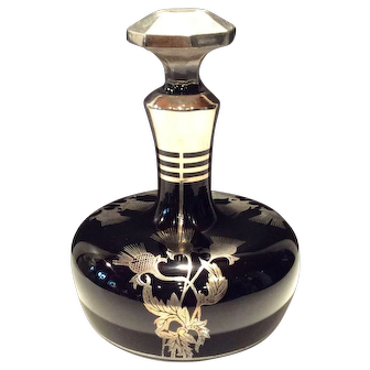"Morgantown Ebony ""Little King"" #1 Decanter with Sterling Thistle Decoration"