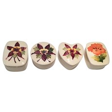 Moorcroft Set of 4 Floral Decorated & Covered Trinket Boxes