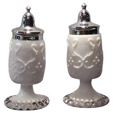 Fenton Silver Crest Salt & Pepper Shakers with Spanish Lace Embossed Decoration