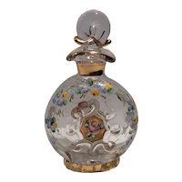 Heisey Crystal #1540 Lariat Cologne with Charleton Roses Decoration