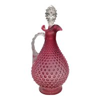 Fenton No. 3903-CR Cranberry Opalescent Hobnail Handled Decanter