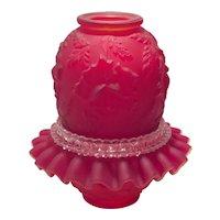 Fenton for L.G. Wright Ruby Satin Rose Embossed Fairy Light