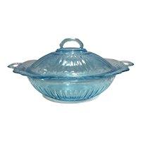 "Hocking Glass Blue Mayfair 10"" Covered Vegetable Bowl & Lid"