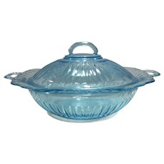"Hocking Glass Blue Mayfair 10"" Covered Vegetable Bowl & Lid"