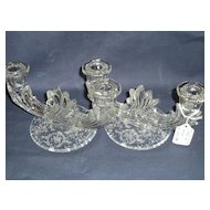 Fostoria Crystal Navarre Etched Pair of 2-Light Baroque Candlesticks