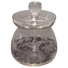 Fostoria Blown (2-piece) Crystal Marmalade with No. 250 Oriental Etch