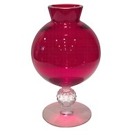 Morgantown Spanish Red Kimball Ivy Ball Vase with Crystal Golf Ball Stem