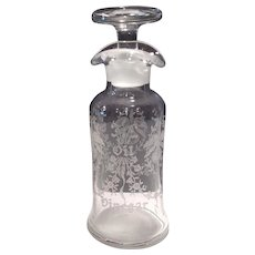 Heisey Blown Crystal Orchid Etch # 507 Flat French Dressing Bottle & Stopper