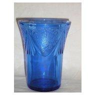 """Hazel Atlas Glass Cobalt Blue Royal Lace 4"""" Tumbler"""