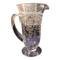 "Fostoria Crystal #327 Navarre Etched 9-3/4"" #5000 Line Footed Pitcher"