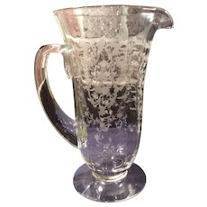 """Fostoria Crystal #327 Navarre Etched 9-3/4"""" #5000 Line Footed Pitcher"""